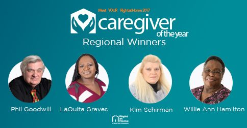 right at home caregiver of the year regional winners 2017