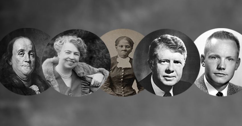 benjamin franklin eleanor roosevelt harriet tubman neil armstrong jimmy carter