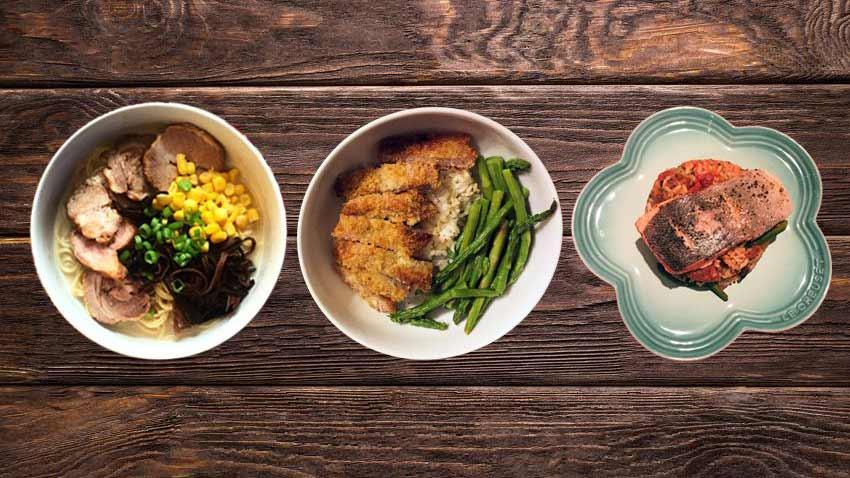 3 bowls of healthy food