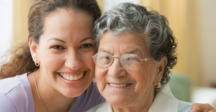 Caregiver with elderly client