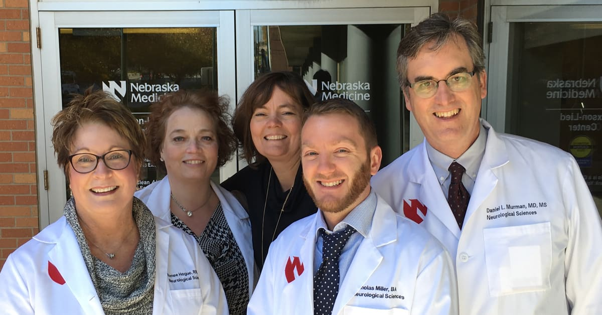 from left to right renee hogue rn, mary horrum rn, nick miller, deb heimes, dr daniel murman