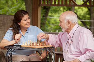 Caregiver and Client outdoors