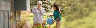 Senior woman holding flower basket