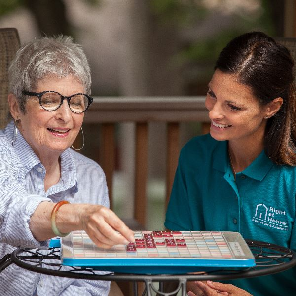 Caregiver engaging with Senior