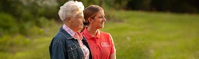 caregiver and senior outside