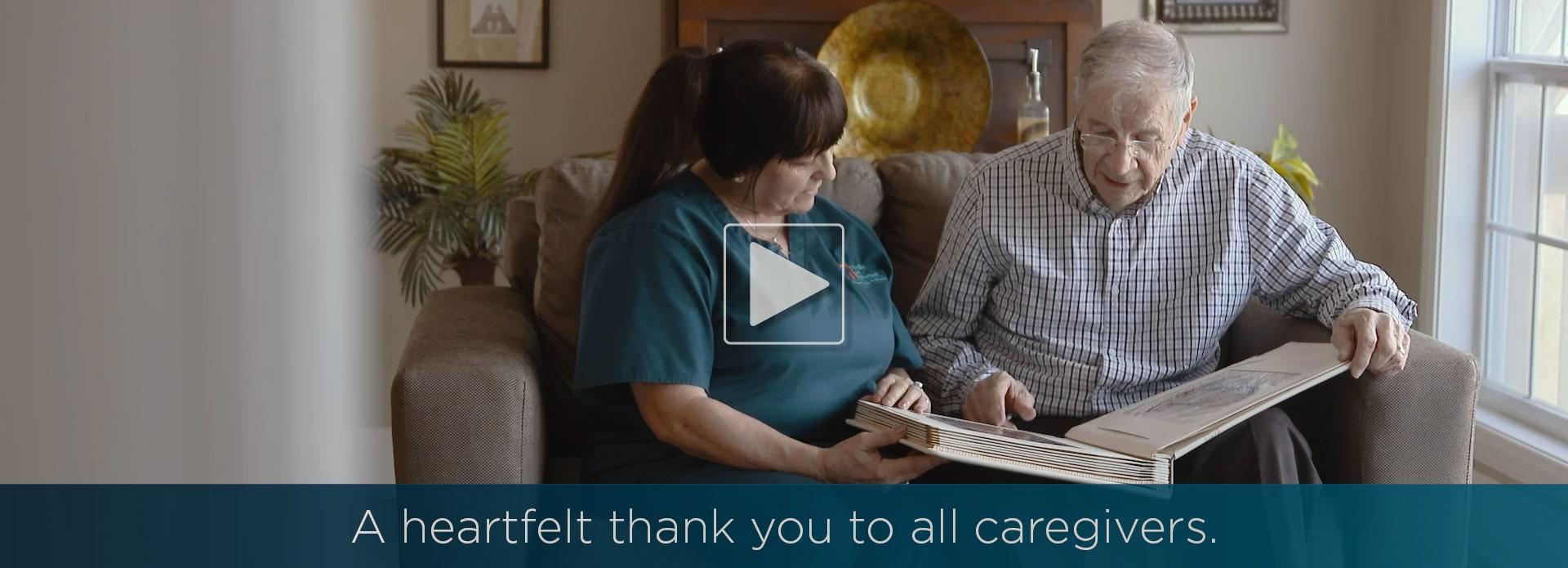 caregiver reading with a senior
