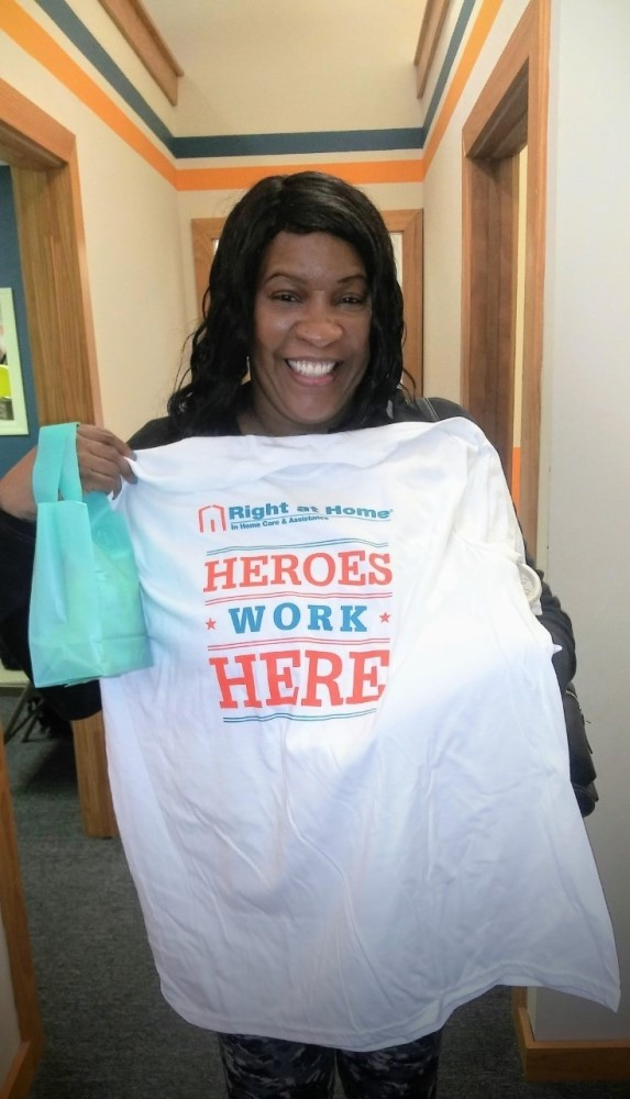 caregiver with her hero t-shirt