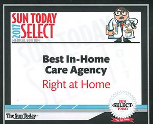 Bluffton Today 2017 Reader's Choice Award for Right at Home Hilton Head In Home Care Agency
