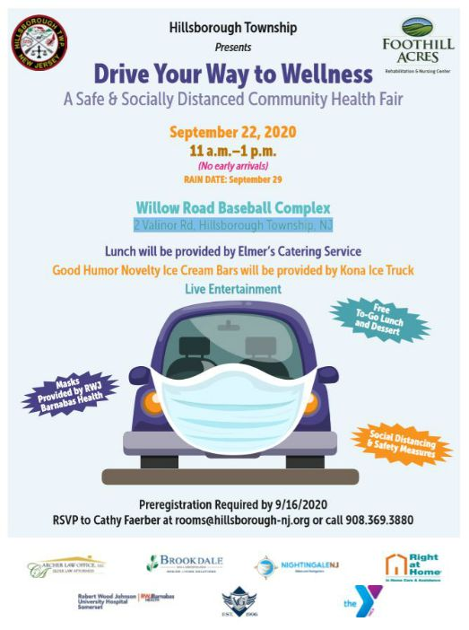 Flyer for the Drive Your Way to Wellness Community Health Fair on Sept. 22nd, 2020