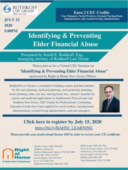 identifying and preventing elder financial abuse CEU webinar flyer