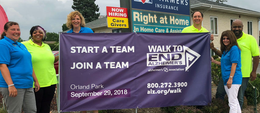 Right at Home Orland Park's 2018 Walk to End Alzheimer's Team