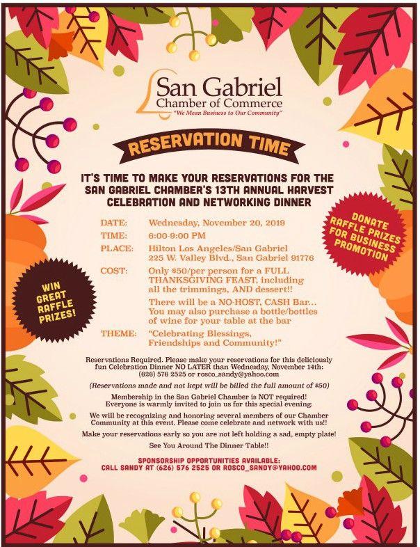 San Gabriel Harvest Celebration Dinner flyer