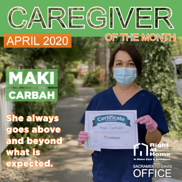 April Caregiver of the Month graphic with Maki on the cover