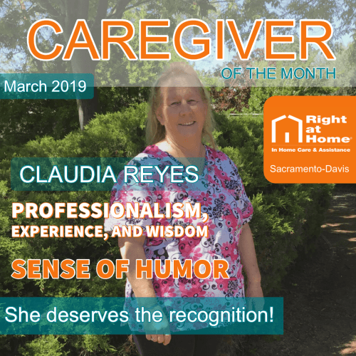 Caregiver of the Month - Claudia Reyes with a magazine style background