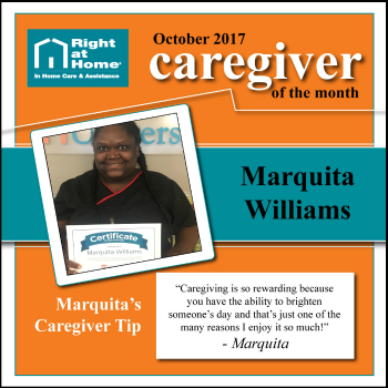 Marquita Williams October Caregiver of the Month for Right at Home Sacramento-Davis