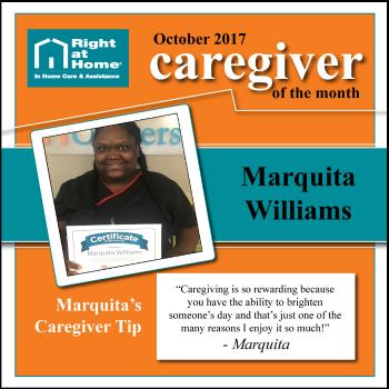 Marquita Williams October Caregiver of the Month for Right at Home Sacramento-Davis