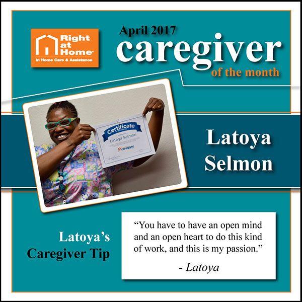 Latoya Selmon, April 2017 Caregiver of the Month
