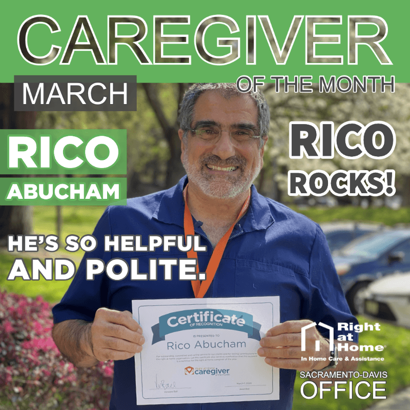 Graphic with Caregiver of the Month for March Rico