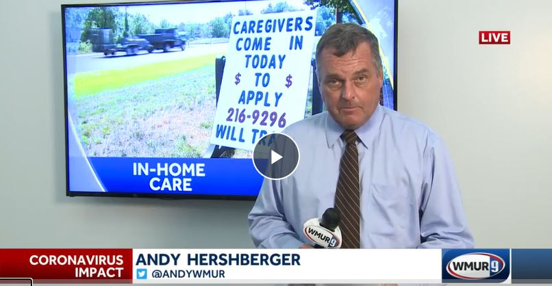 screenshot of reporter Andy Hershberger from WMUR 9 News reporting about right at home and the need for caregivers in southern new hampshire