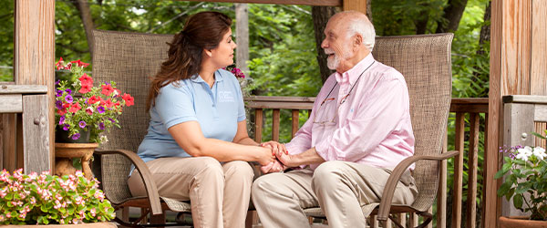 Caregiver and Client on Bench