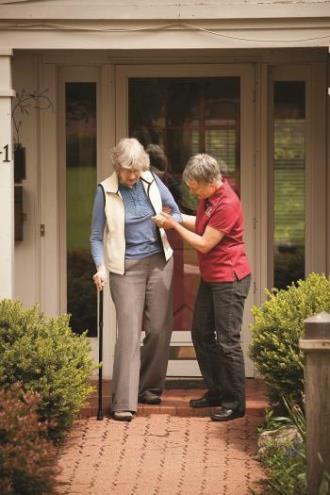 caregiver client walking