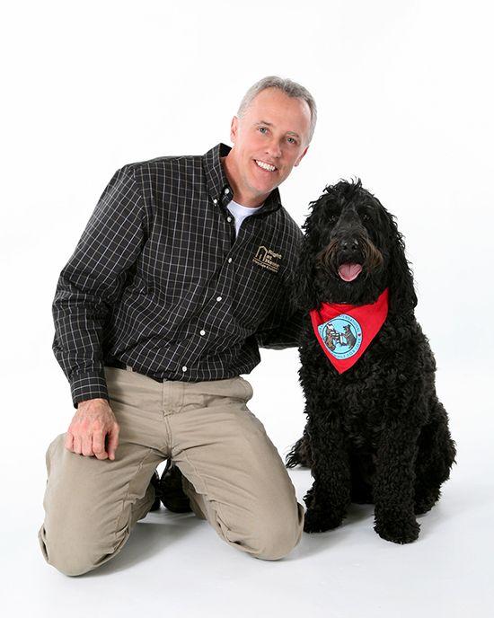 John Baldwin and Newton the Pet Therapy Dog