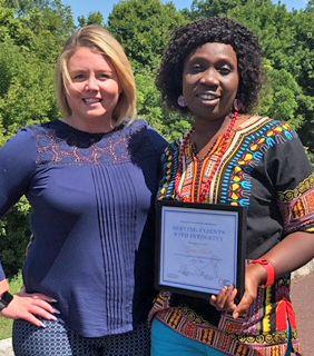 Caregiver winning award