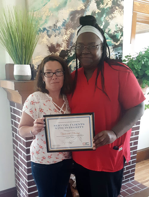 June 2019 Caregiver of the Month Yolunida Chestnut