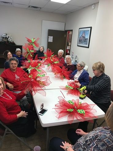 Class at Woodstock Senior Center Making Christmas Decorations