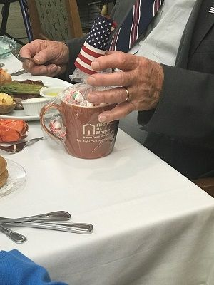 Right at Home Patriotic Mug Gift for Veterans at Merrill Gardens in Woodstock Georgia