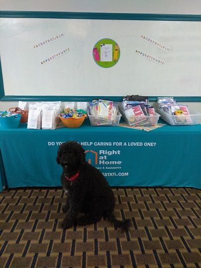 Home Care Therapy Dog Myla in front of school supplies at the Right at Home East Atlanta Back to School Bash