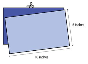 tutorial graphic that features two blue 6 inch by 10 inch rectangles