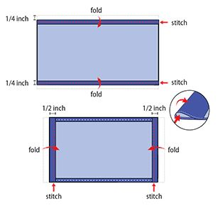 tutorial graphic that outlines small folds in the cloth and where to stitch