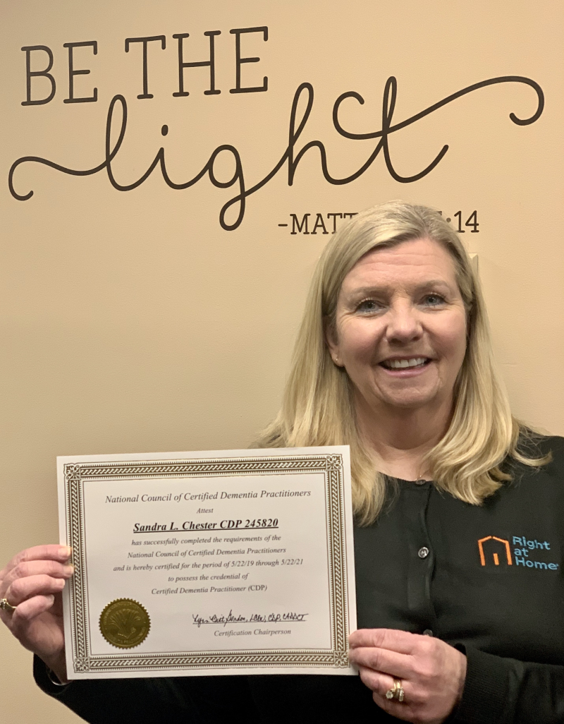 Owner Sandra Chester, RN received her Certification from the National Council of Certified Dementia Practitioners