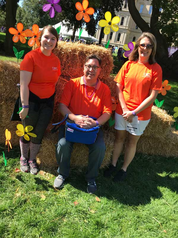 Michael, Megan, and Tricia at the 2018 Alzheimer's Walk in Lansing, MI