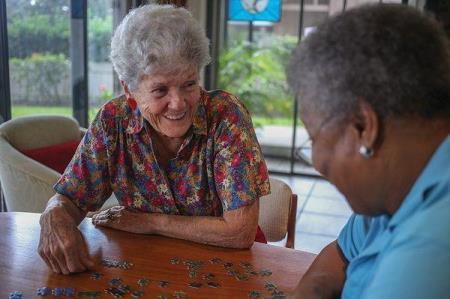 caregiver and client working on puzzle