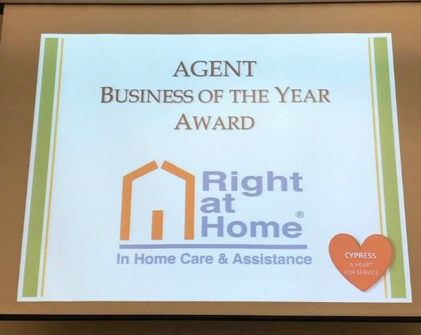 Right at Home Northwest Orange County receives Cypress' 2018 Agent Business of the Year