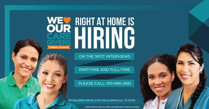 Right at Home Is Hiring Part-time and Full-time Caregivers!