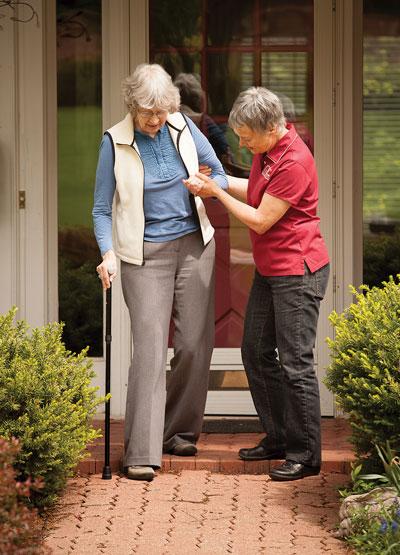 Caregiver assisting a client