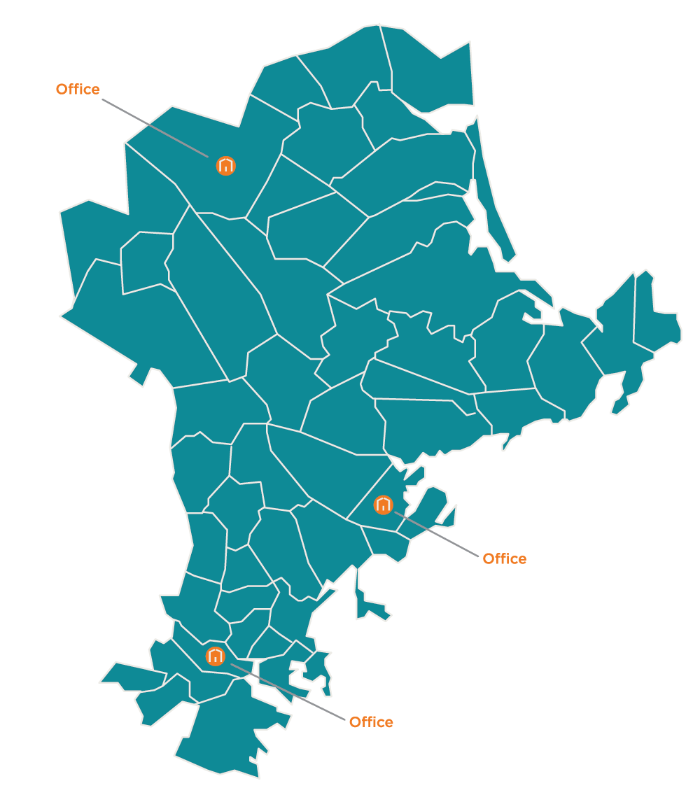 A map of the Boston and North service area, highlighting their office locations in Somerville, Haverhill, and Salem, MA