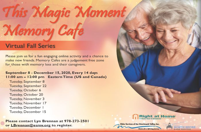 Virtual Memory Cafe Flyer for Right at Home Boston and North.