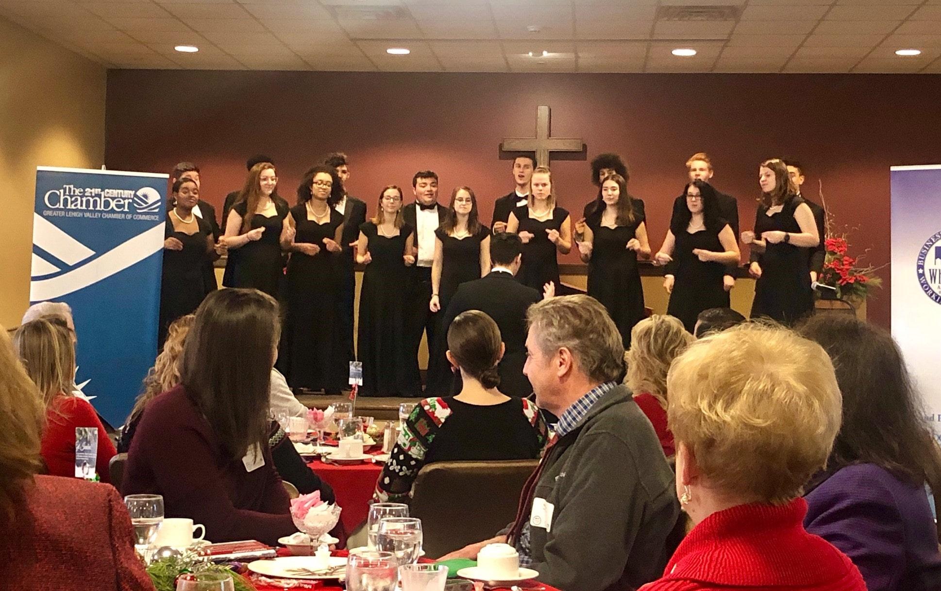 The holiday luncheon choir