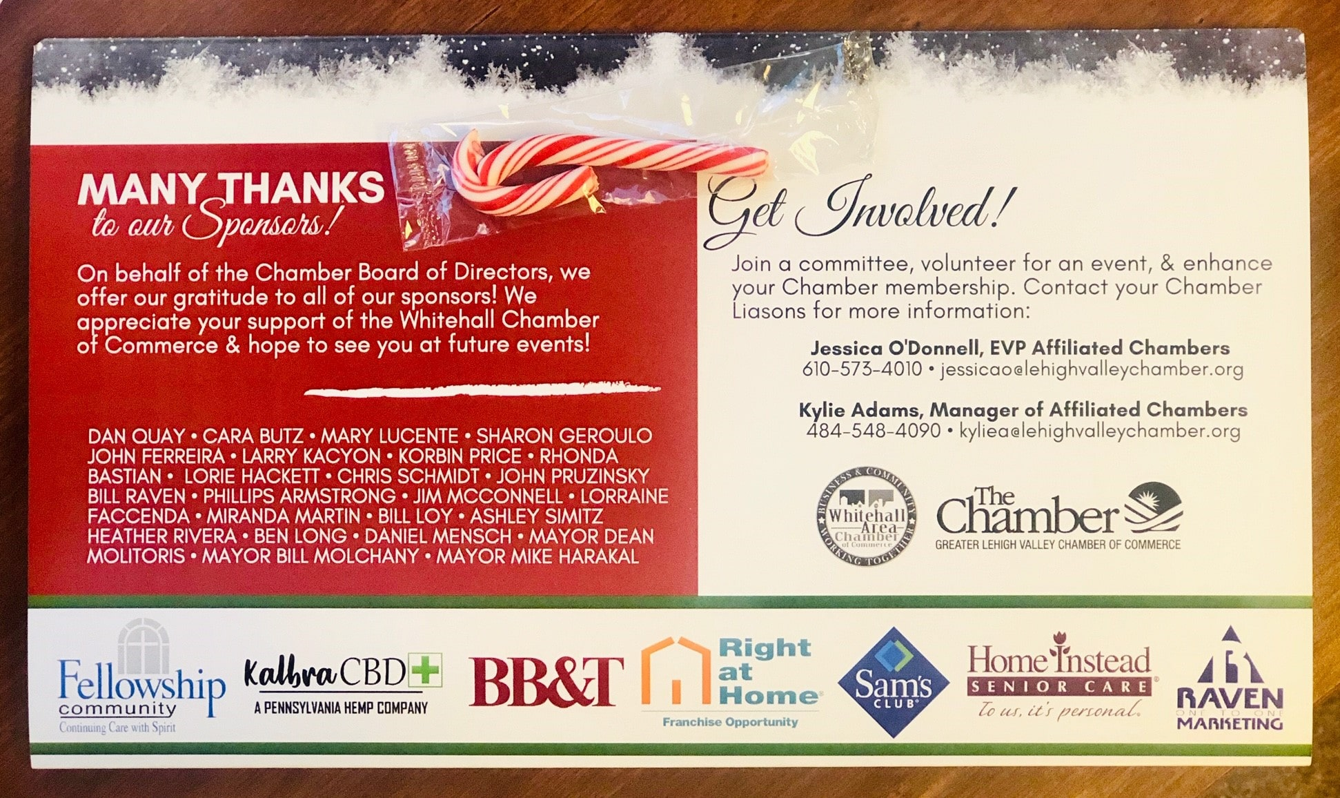 The many sponsors of the holiday luncheon