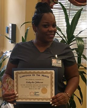 Lakysha Johnson Caregiver of the Month Right at Home West Mobile