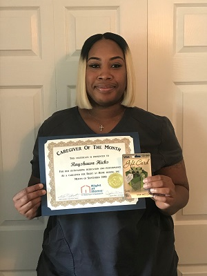Rayshawn Hicks was the September 2018 Employee of the month Right at Home West Mobile