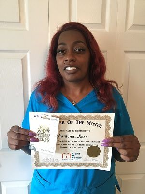 Shantonia Ross , Caregiver of the Month Right at Home West Mobile, July 2018