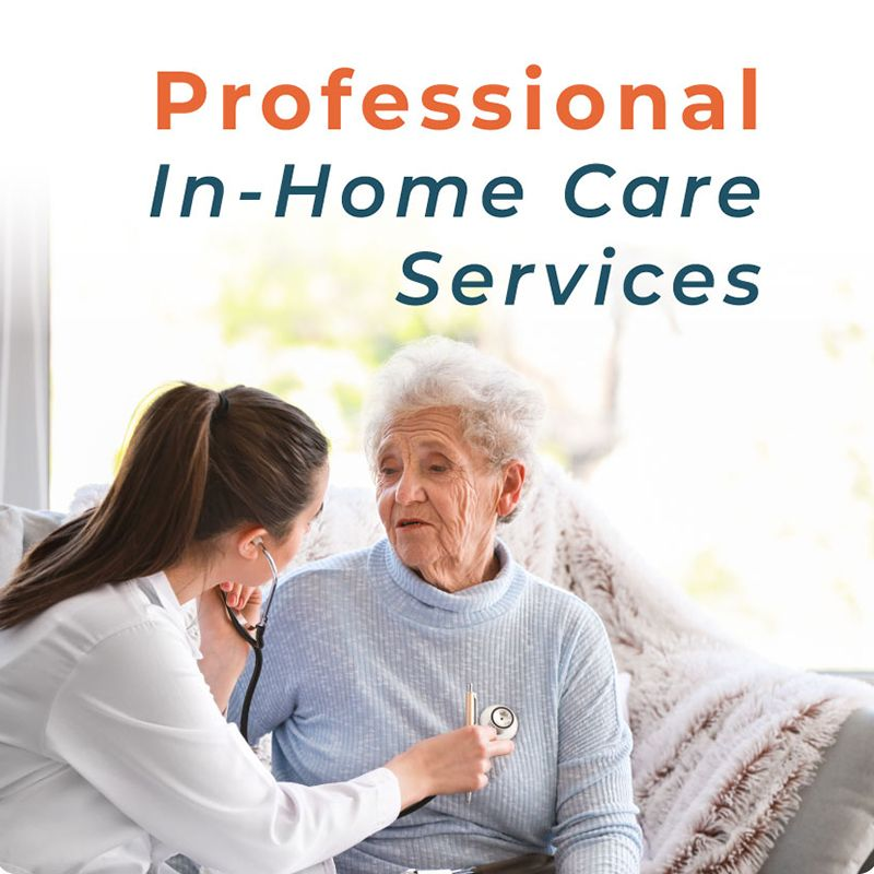 caregiver listening to senior woman's heart with stethoscope