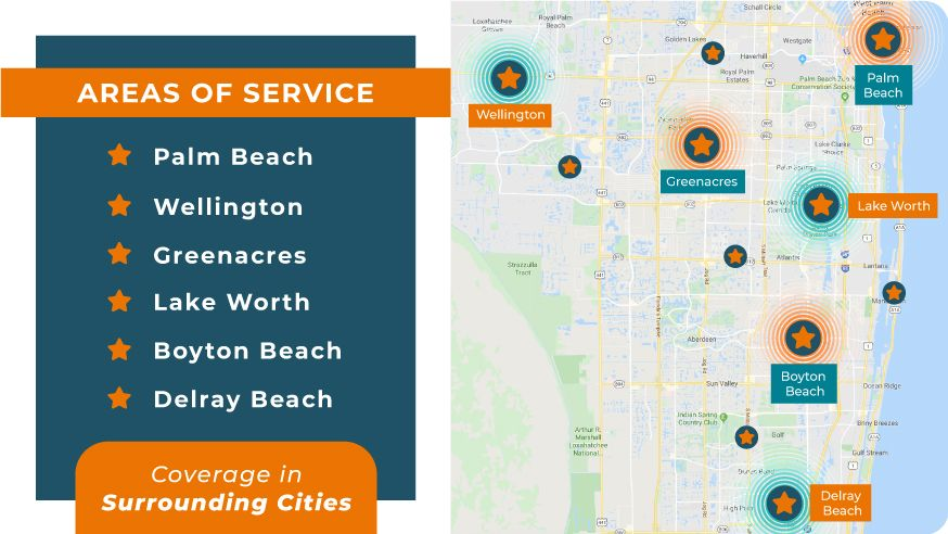 Right at Home Palm Beach areas of service map