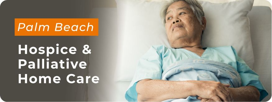 Senior client laying in hospital bed - hospice and palliative home care