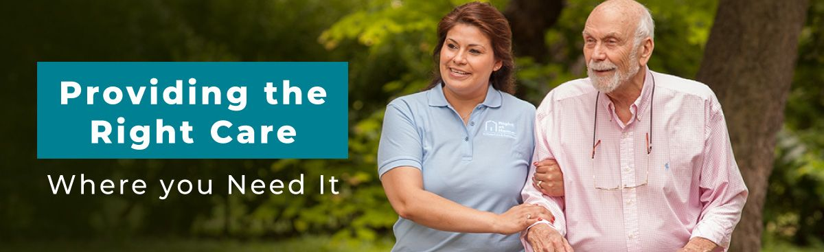 providing the right care banner with senior client and caregiver walking in park